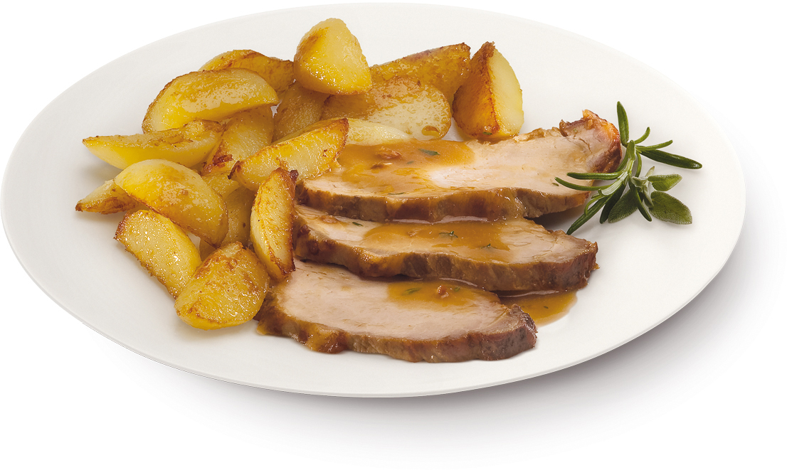 Arrosto di maiale con patate a spicchi – Bassa Risoluzione – PNG a 72 DPI