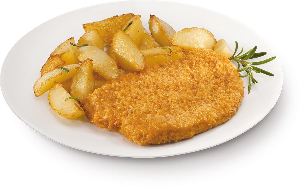 Cotoletta di pollo con patate al forno – Bassa Risoluzione – PNG a 72 DPI